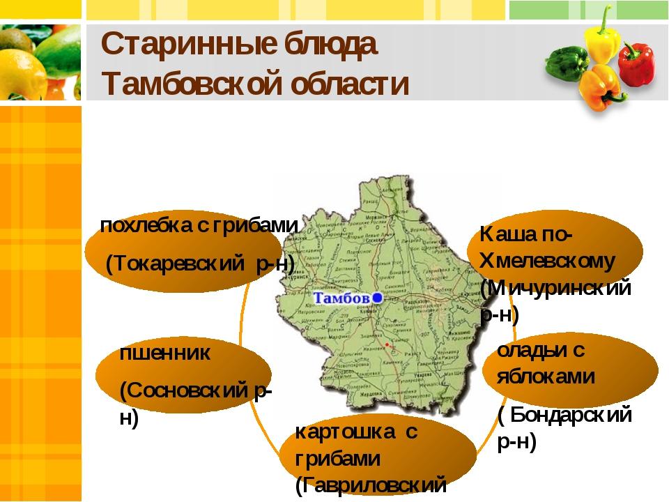 Старинные блюда Тамбовской области похлебка с грибами (Токаревский р-н) Каша...