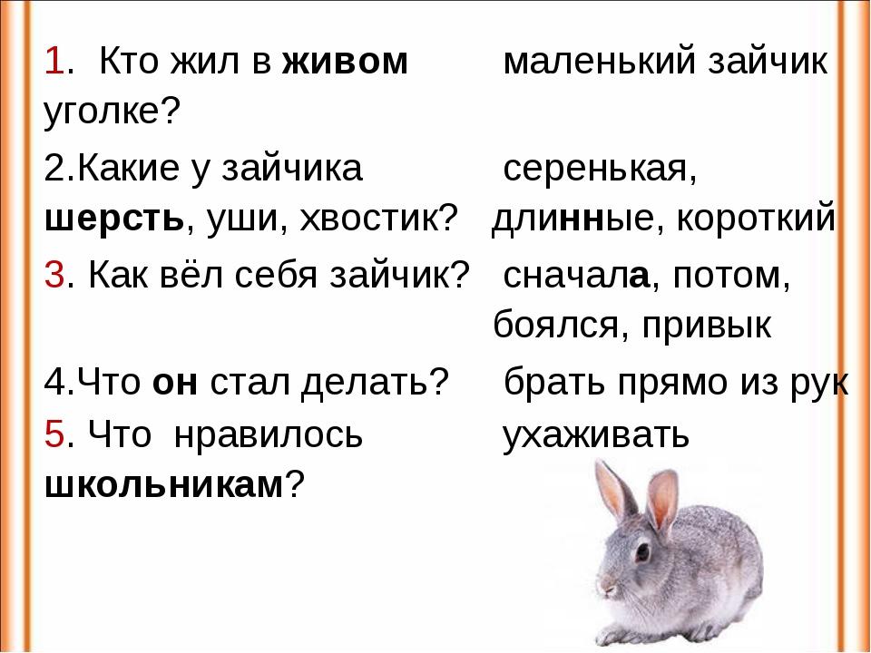 1. Кто жил в живом уголке? маленький зайчик 2.Какие у зайчика шерсть, уши, х...