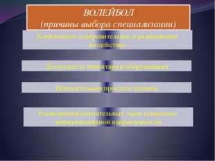ВОЛЕЙБОЛ (причины выбора специализации) Комплексное оздоровительное и развива