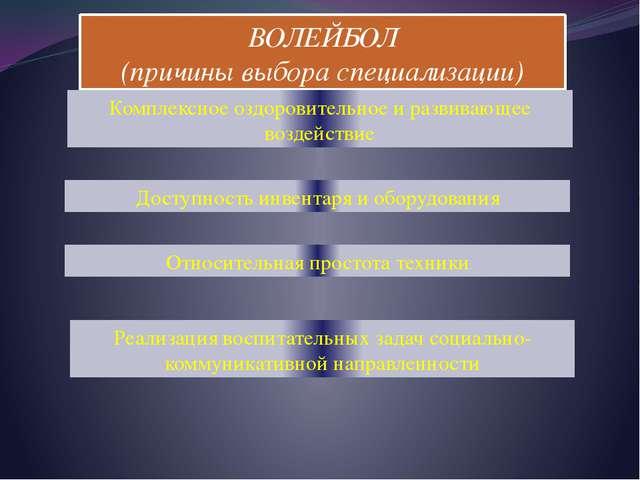 ВОЛЕЙБОЛ (причины выбора специализации) Комплексное оздоровительное и развива...
