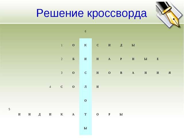 Решение кроссворда 6 1ОКСИДЫ 2БИНАРНЫ...