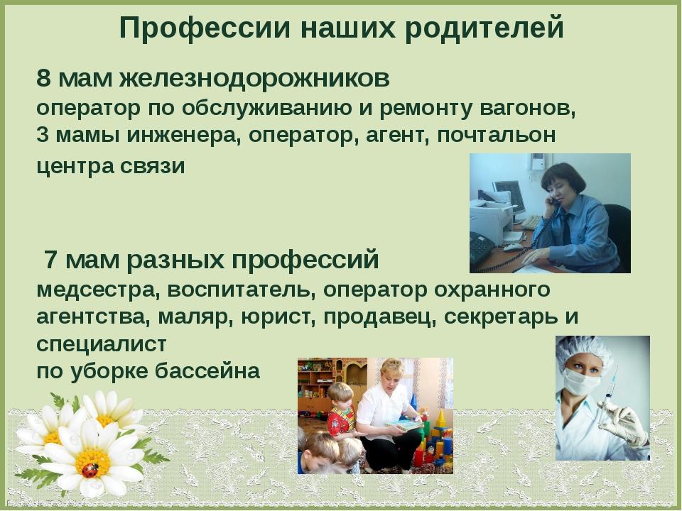 Профессии наших родителей 8 мам железнодорожников оператор по обслуживанию и...