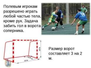 Полевым игрокам разрешено играть любой частью тела, кроме рук. Задача забить