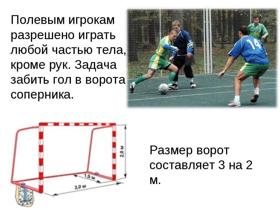 Полевым игрокам разрешено играть любой частью тела, кроме рук. Задача забить...