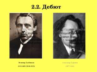 2.2. Дебют Велимир Хлебников (9.01.1885-28.06.1922) Александр Туфанов (1877-1