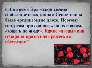 6. Во времяКрымской войны снабжение осажденного Севастополя было организован