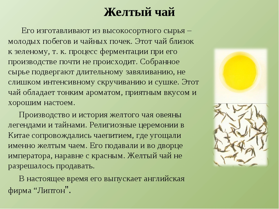 Желтый чай Его изготавливают из высокосортного сырья – молодых побегов и чайн...