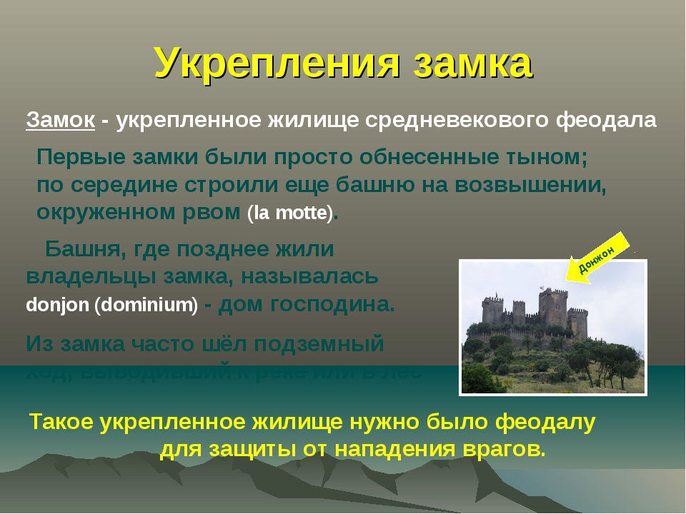 Укрепления замка Замок - укрепленное жилище средневекового феодала Первые зам...