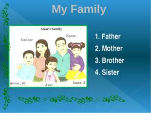 My Family 1. Father 2. Mother 3. Brother 4. Sister