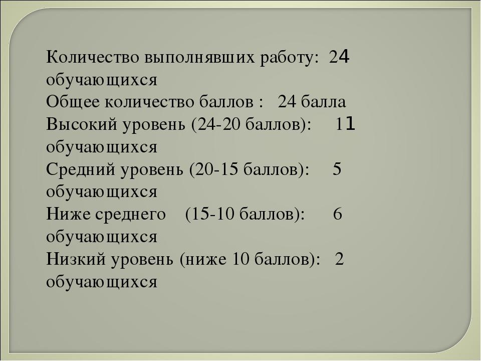 Количество выполнявших работу: 24 обучающихся Общее количество баллов : 24 ба...