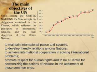 The main objectives of the UN to maintain international peace and security; t