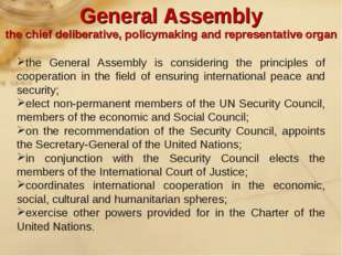 the General Assembly is considering the principles of cooperation in the fiel