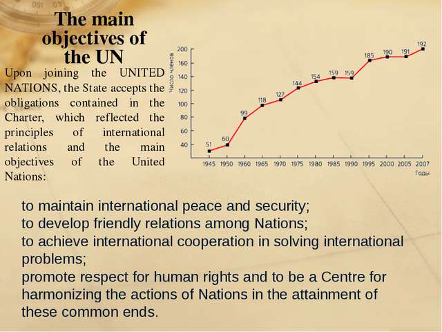The main objectives of the UN to maintain international peace and security; t...