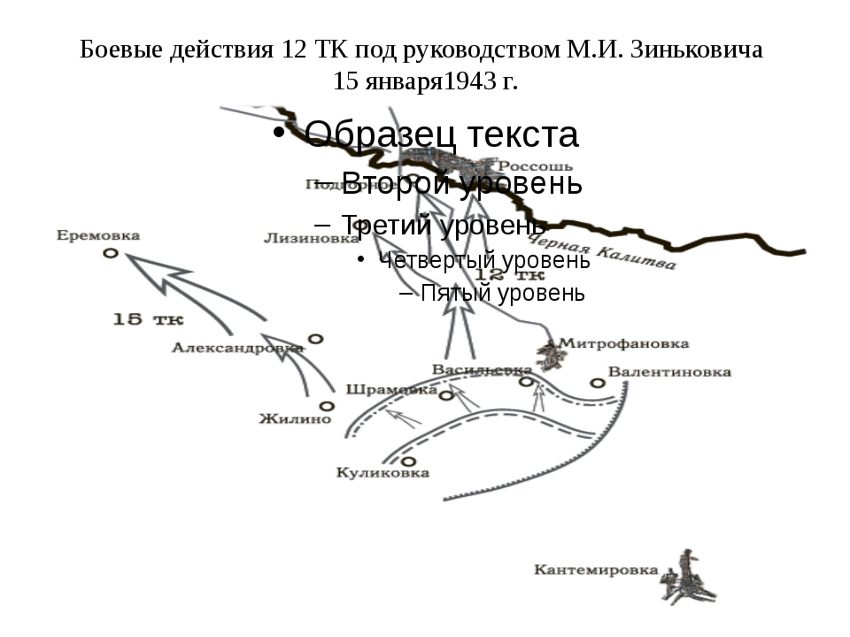 Боевые действия 12 ТК под руководством М.И. Зиньковича 15 января1943 г.