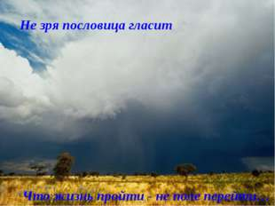 Не зря пословица гласит Что жизнь пройти - не поле перейти…