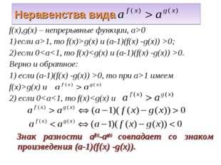 Неравенства вида f(x),g(x) – непрерывные функции, а>0 если а>1, то f(x)>g(x)