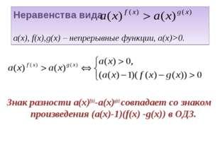 Неравенства вида а(х), f(x),g(x) – непрерывные функции, а(х)>0. Знак разности