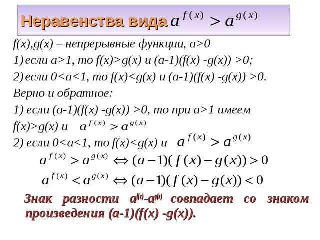 Неравенства вида f(x),g(x) – непрерывные функции, а>0 если а>1, то f(x)>g(x)...