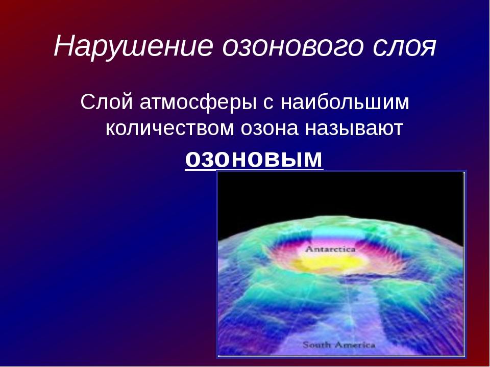 Нарушение озонового слоя Слой атмосферы с наибольшим количеством озона называ...