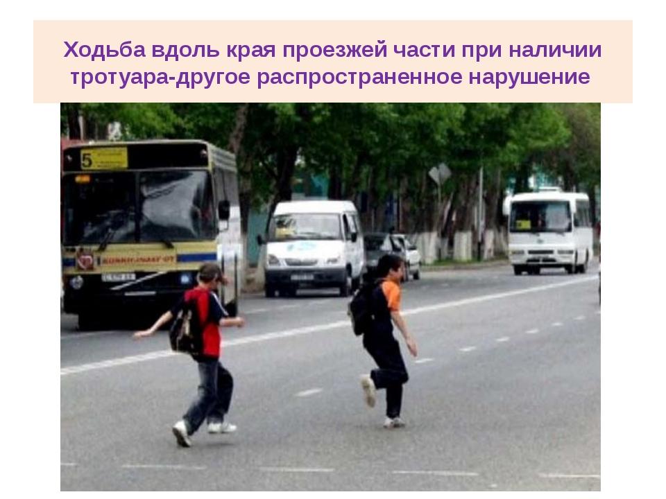 Ходьба вдоль края проезжей части при наличии тротуара-другое распространенное...