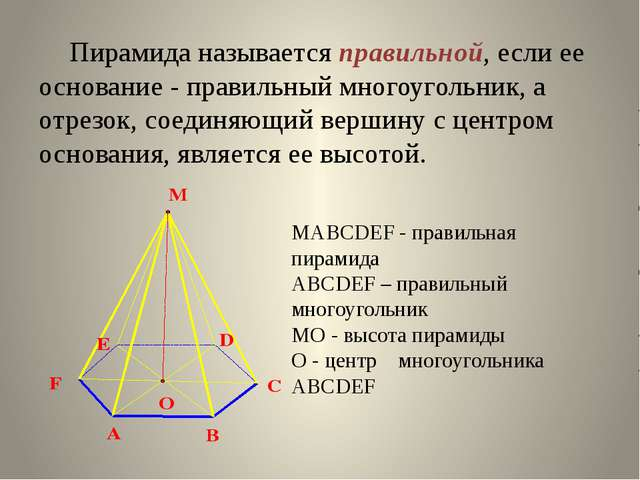 Пирамида называется правильной, если ее основание - правильный многоугольник...