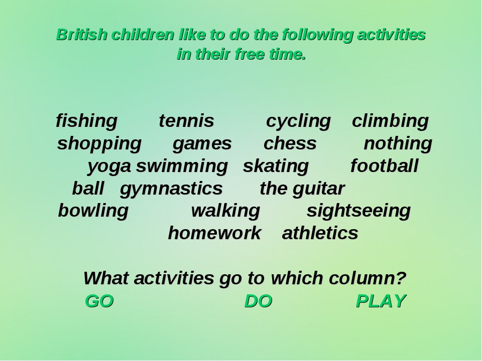 British children like to do the following activities in their free time. fish...
