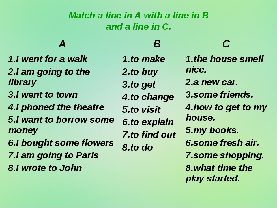 Match a line in A with a line in B and a line in C. A	 B	C 1.I went for a wal...