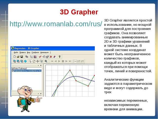 3D Grapher http://www.romanlab.com/rus/ 3D Grapher является простой в исполь...