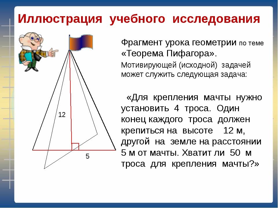 Иллюстрация учебного исследования Фрагмент урока геометрии по теме «Теорема П...