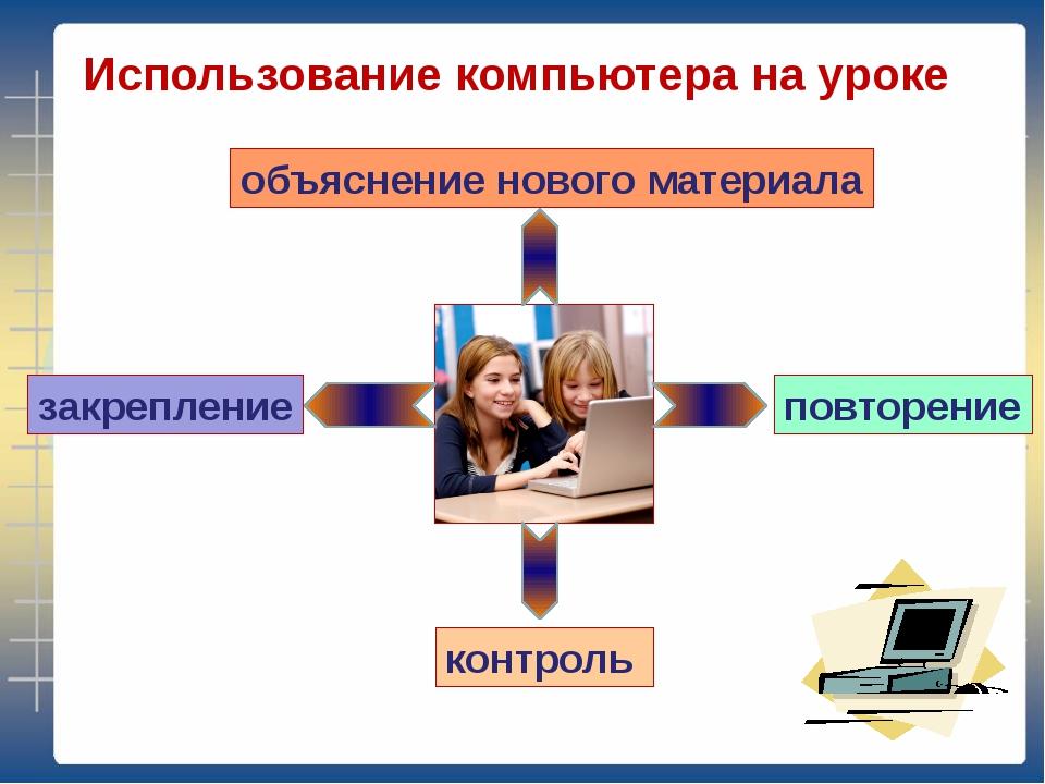 Использование компьютера на уроке объяснение нового материала закрепление пов...