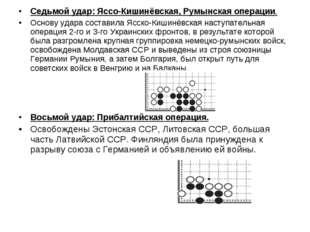 Седьмой удар: Яссо-Кишинёвская, Румынская операции. Основу удара составила Яс