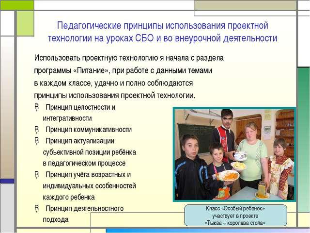 Педагогические принципы использования проектной технологии на уроках СБО и во...