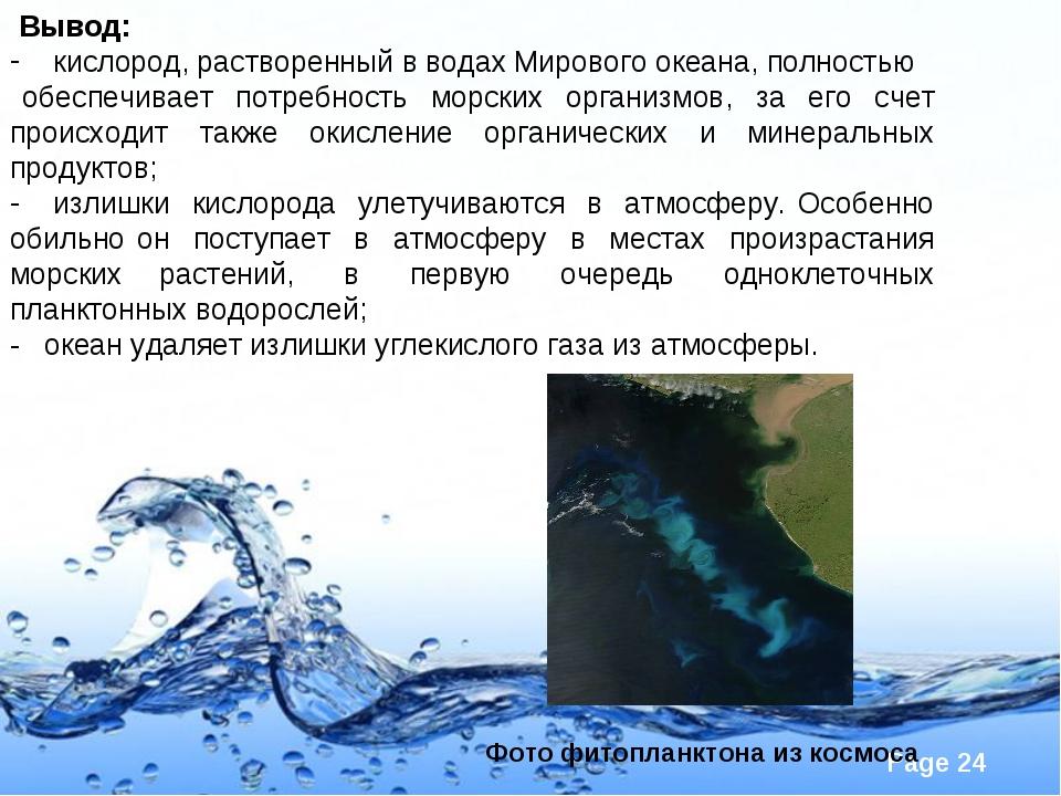 Вывод: кислород, растворенный в водах Мирового океана, полностью обеспечивае...