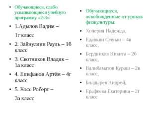 Обучающиеся, слабо усваивающиеся учебную программу «2-3»: 1.Адылов Вадим – 1г