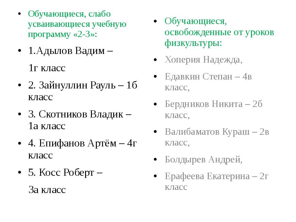 Обучающиеся, слабо усваивающиеся учебную программу «2-3»: 1.Адылов Вадим – 1г...