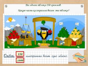 Вес одного яблока 250 граммов. Какую часть килограмма весит это яблоко?