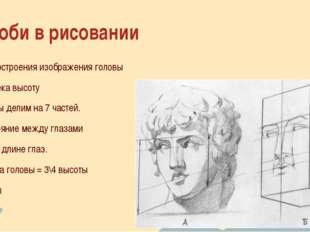 Дроби в рисовании Для построения изображения головы человека высоту головы де