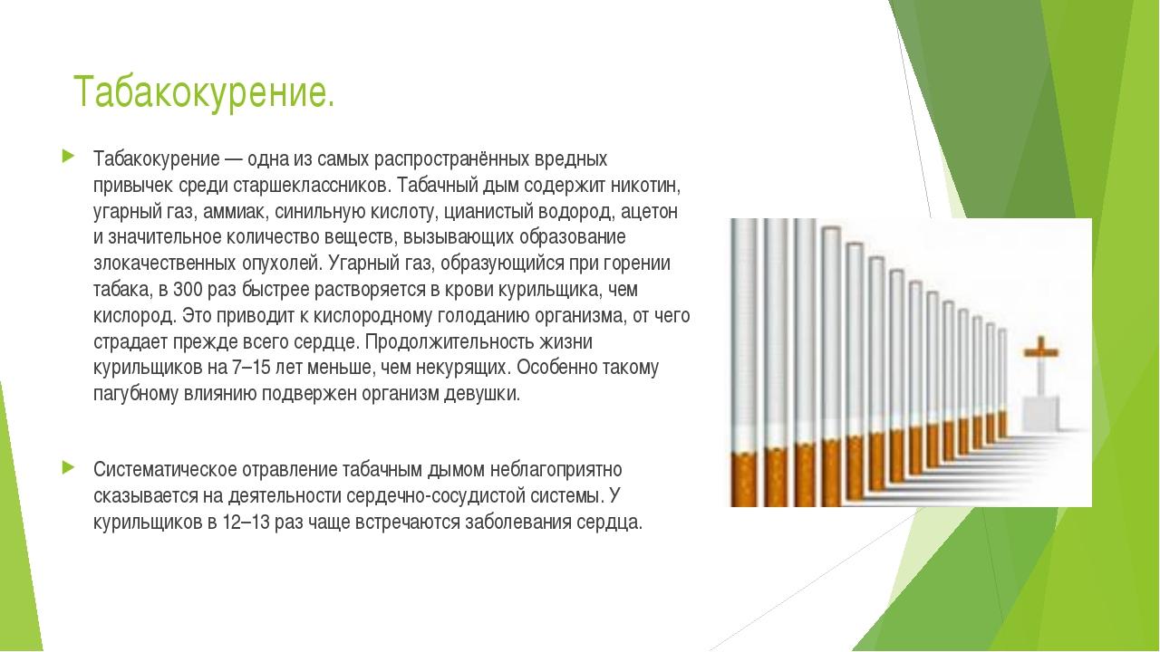 Табакокурение. Табакокурение — одна из самых распространённых вредных привыче...