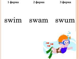 1форма 2 форма 3 форма swim swam swum