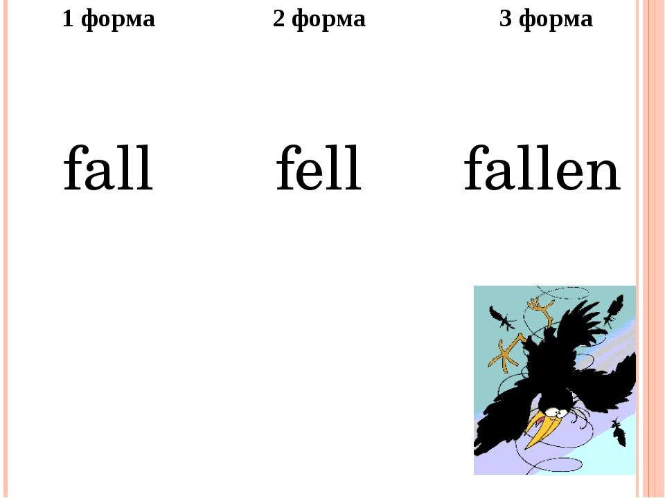 1форма 2 форма 3 форма fall fell fallen