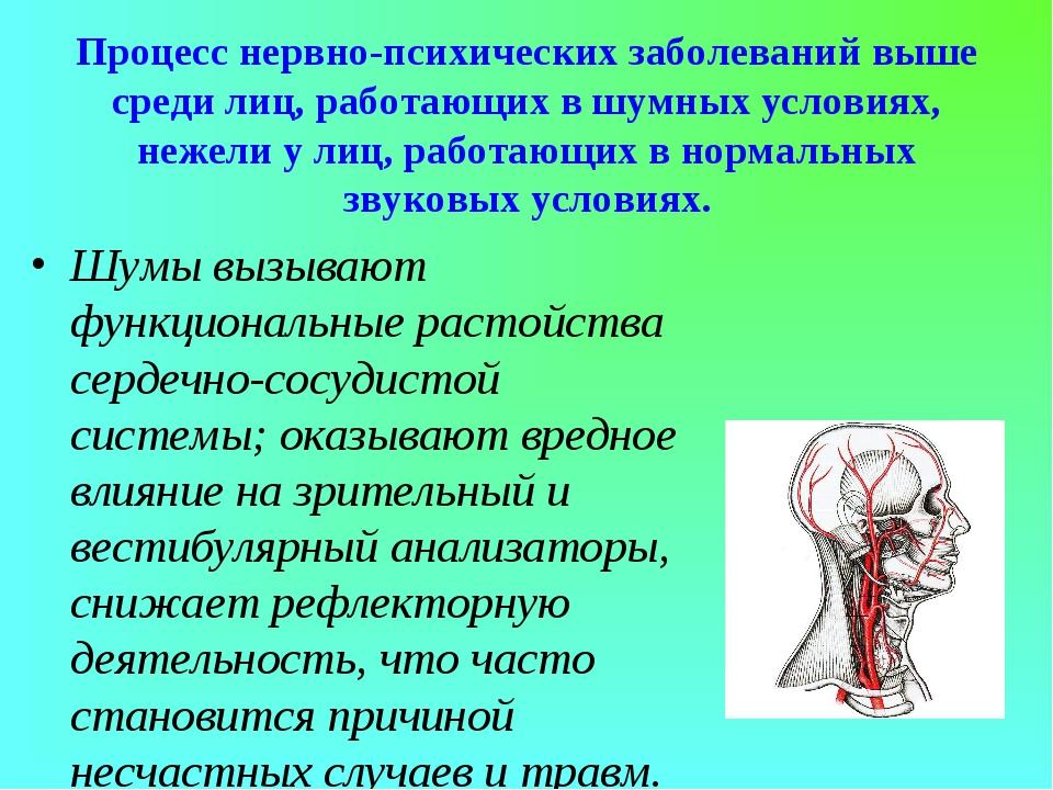 Процесс нервно-психических заболеваний выше среди лиц, работающих в шумных ус...