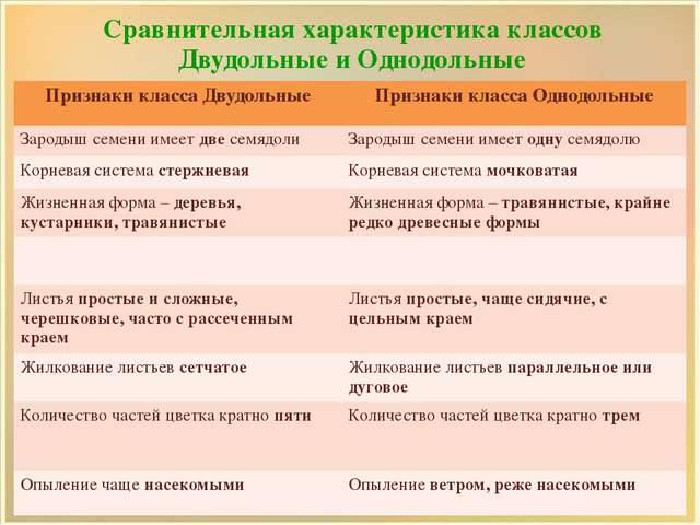 Сравнительная характеристика классов Двудольные и Однодольные Признакикласса...