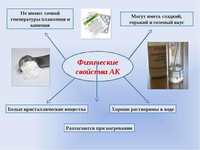 Физические свойства АК Белые кристаллические вещества Хорошо растворимы в вод...