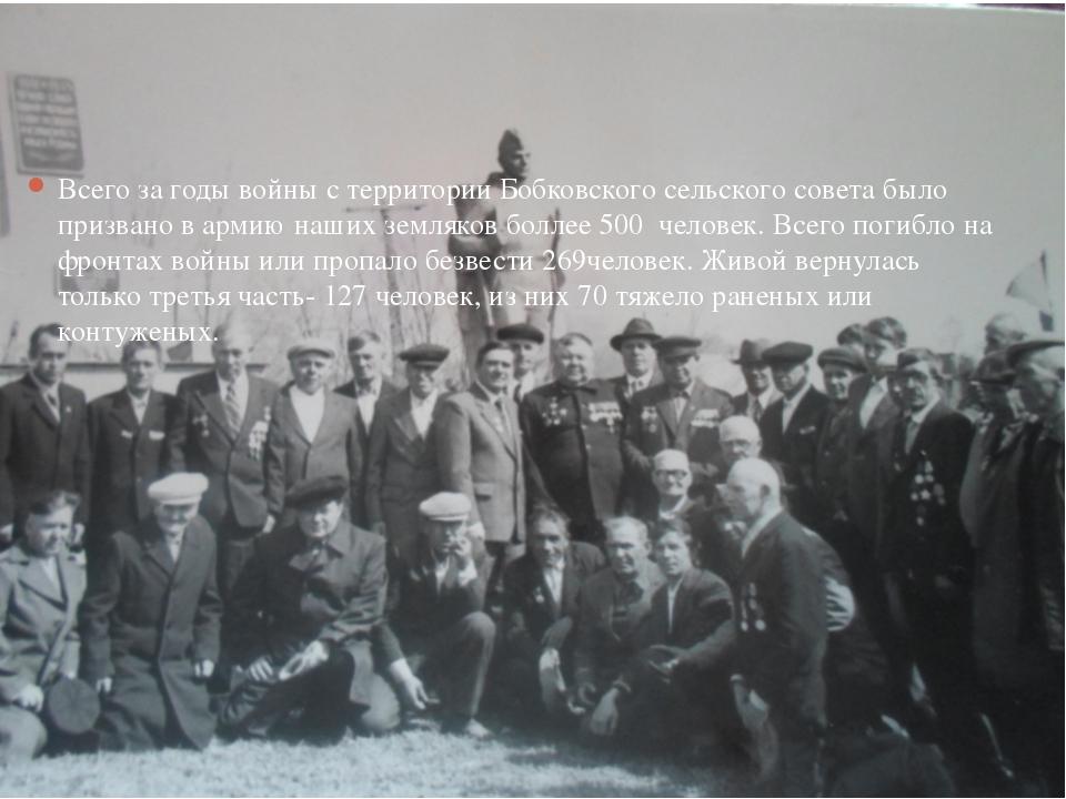 Всего за годы войны с территории Бобковского сельского совета было призвано...