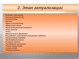 2. Этап актуализации Приемы обучения: -Ассоциативный ряд. -Видеосюжет. -Диало