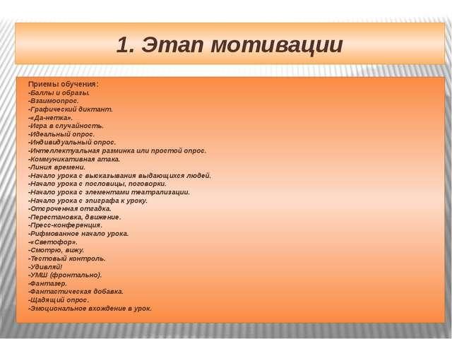 1. Этап мотивации Приемы обучения: -Баллы и образы. -Взаимоопрос. -Графически...