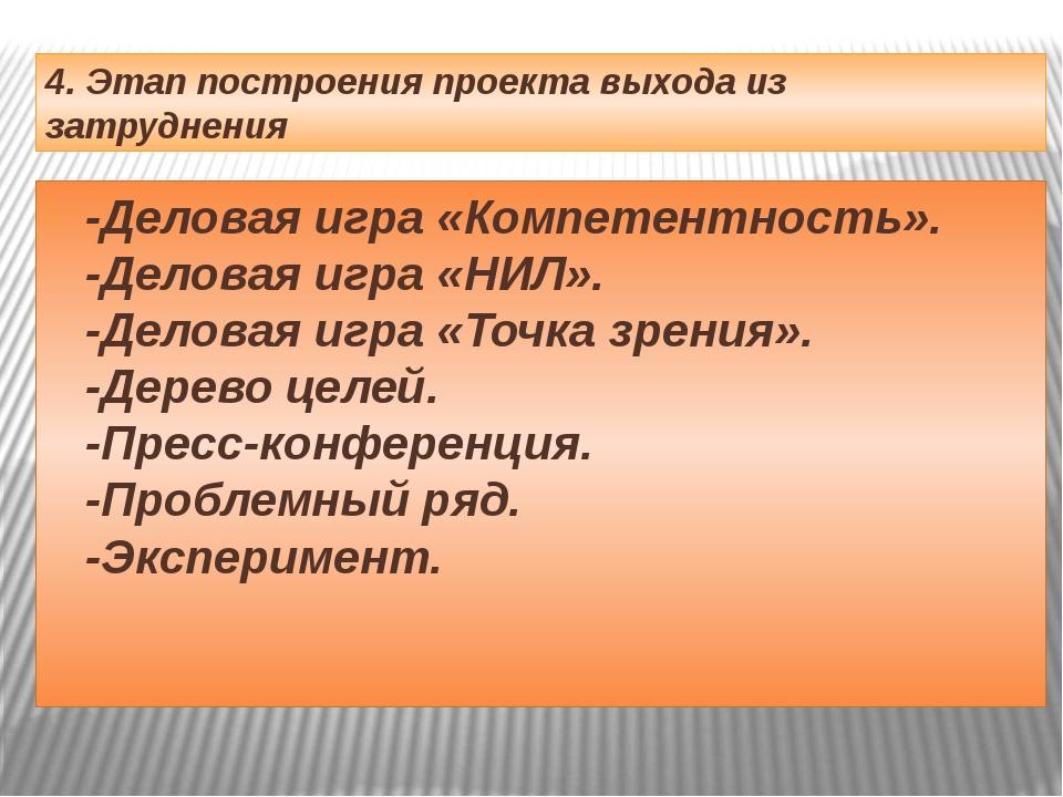 4. Этап построения проекта выхода из затруднения -Деловая игра «Компетентност...