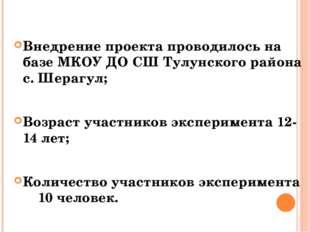 Внедрение проекта проводилось на базе МКОУ ДО СШ Тулунского района с. Шерагу