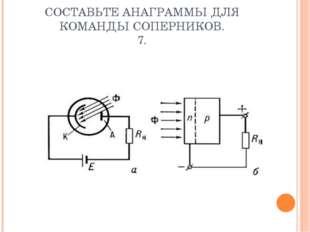 СОСТАВЬТЕ АНАГРАММЫ ДЛЯ КОМАНДЫ СОПЕРНИКОВ. 7.