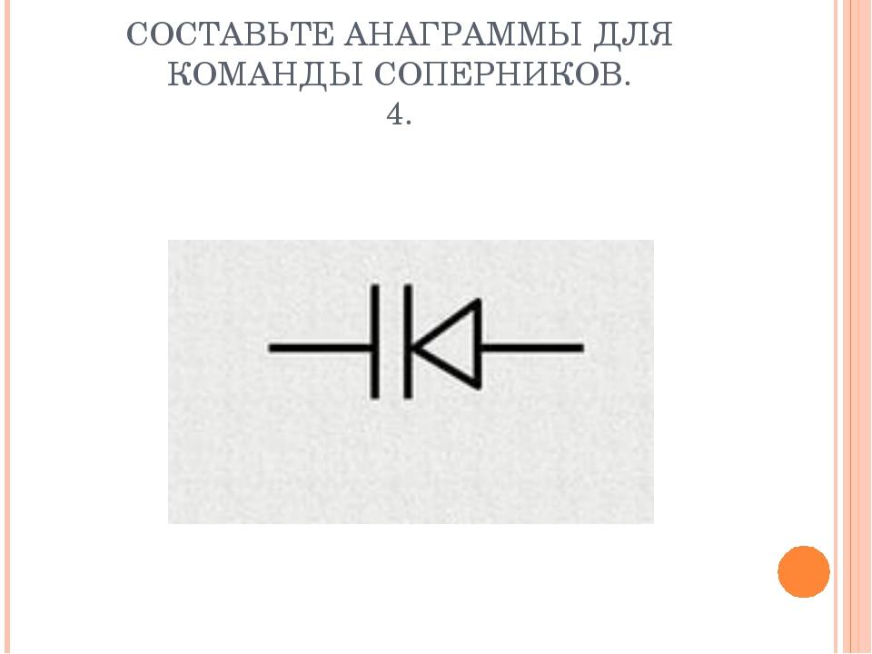 СОСТАВЬТЕ АНАГРАММЫ ДЛЯ КОМАНДЫ СОПЕРНИКОВ. 4.